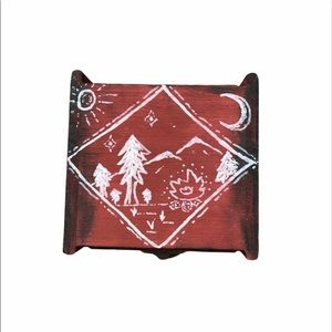 Wooden Jewelry Trinket Box Forest Camping